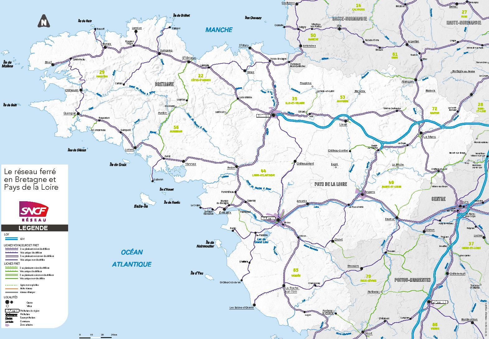 carte bretagne pays de loire Réseau ferré en Bretagne   Pays de la Loire | SNCF Réseau