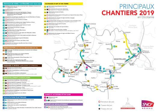 Carte Bretagne Gare Sncf.Carte Des Principaux Chantiers 2019 En Occitanie Sncf Reseau